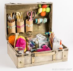 Think outside of the box and try organizing your favorite craft supplies in a decorative trunk! Craft Box, Craft Kits, Craft Projects, Craft Organization, Craft Storage, Organizing, Hobby Supplies, Craft Supplies, Suitcase Storage