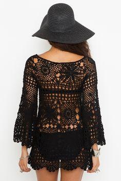 Ashbury Crochet Dress - BLACK