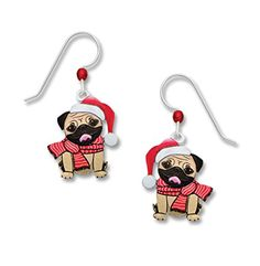 Sienna Sky UVPrinted Pug Dog Santa Holiday Earrings 1985 *** Check out this great product.(This is an Amazon affiliate link and I receive a commission for the sales)