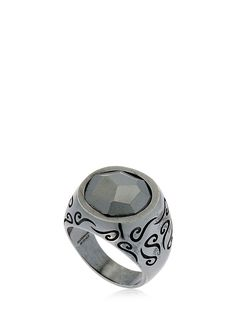 Marco Dal Maso Mens Round Oxidized Silver Ring with Pearl, Size 10.5