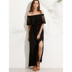 SheIn(sheinside) Black Off The Shoulder Split Maxi Dress (€24) ❤ liked on Polyvore featuring dresses, gowns, off the shoulder evening dresses, short-sleeve maxi dresses, off the shoulder evening gown, maxi dresses and short sleeve gown