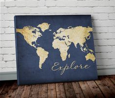 Explore WORLD MAP Wall ART Canvas World Map Print by AllyMacDesign