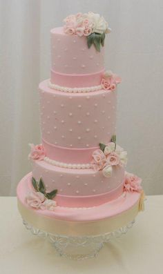 Vintage Cake in Pink with Fondant Fabric flowers