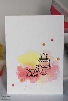 Geburtstagsgruß mit Aquarell: Torten-Alarm!!! Stampin Up