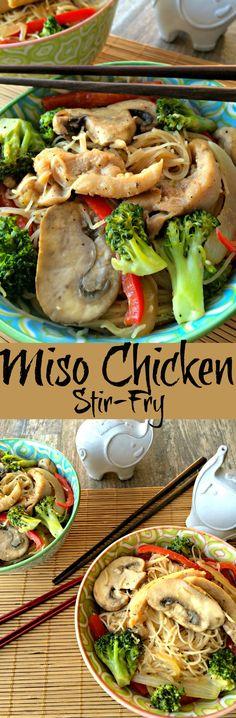 Miso Chicken Stir-fry ~ The Complete Savorist Quick Chicken and Veggie Stir-fry with veggies.