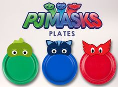 PJ MASKS PLATES Custom birthday party supplies by Thingamaparty