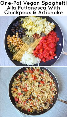 One-Pot Vegan Spaghetti Alla Puttanesca with Chickpeas & Artichoke -  Simple One-Pot Pastas
