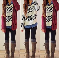 Sweaters, boots, knee high socks, cardys
