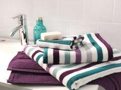 Basement bathroom - Lovely colour combo for the towels (Badrumsmöbler, handfat och inredning - IKEA) Purple Bathrooms, Bathroom Colors, Bathroom Gray, Basement Bathroom, Bathroom Ideas, Bath Decor, Bedroom Decor, Bathroom Towels, Modern Bathrooms