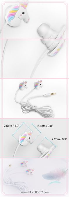 Perfect for unicorn lovers ❥ Magical Unicorn Earphones - It's also a fashionable accessory - Complete your own unicorn collection Can work great with any type of smartphone - For high sound quality Active noise cancelling - use it wherever you like Lightweight - only 15g