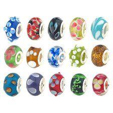 Bundle Monster Silver Lampwork Murano Glass European Mix Design Beads 100pc Lot