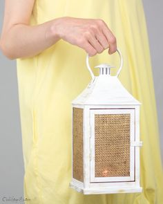 Vintage Barn Wedding Lantern Centerpiece - Rustic Cottage Decoration - Creamy White with Gold - Wedding, Party, Holiday Decoration