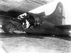 Bomber B-17G-25-DL «Sweet Pea» (serial number 42-38078) 429 Squadron, 2nd Bomb Group of the 15th Air Army, US Air Force received a direct hit flak during a raid on the Hungarian city of Debrecen 21/09/1944 . Despite the critical damage, the pilot Guy Miller (Guy M. Miller) was able to hold on to the airfield Amendola car in Italy.