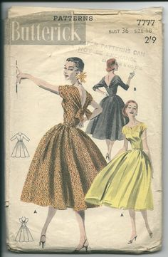 Butterick Vintage dress sewing pattern 1950's design by Piplotex