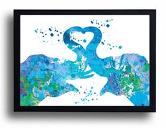 Elephant Love Watercolor Art Print Blue Elephant Love painting Elephant poster Animal art Wedding gift Love gift Heart home wall decor
