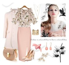 """""""Peach & Floral.."""" by ladylikexo ❤ liked on Polyvore featuring C/MEO COLLECTIVE, Rupert Sanderson, Chloé, Bonheur, Forever 21, Lanvin, Vintage America and Elizabeth Arden"""