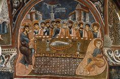 The Last Supper - fresco - Göreme (Cappadocia, Turkey), Karanlik Kilise – Dark Church. Byzantine, half of the century. Last Supper Art, Fall Of Constantinople, Byzantine Architecture, Early Middle Ages, Archaeological Finds, Byzantine Art, Old Churches, Early Christian, Historical Art