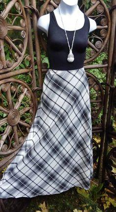 Long Black and white plaid maxi skirt : Medium by LamplightGifts