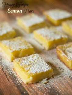 Tart, fresh and sweet honey ginger lemon bars recipe! { lilluna.com }