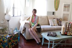 """""""I try to mix up color and play around with patterns, but at the end of the day, my decorating is really just about me trying to fit as many of my vintage finds into one room as possible,"""" said fashion blogger Liz Cherkasova."""