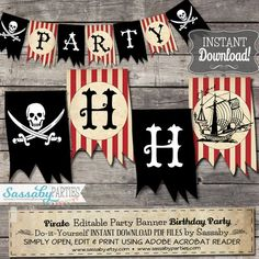 Ahoy me Hearties! Decorate your Pirate Party with this themed Party Banner that you can edit Diy Party Banner, Pirate Party Decorations, Banner Ideas, Party Banners, Pirate Boy, Pirate Theme, Pirate Birthday, Boy Birthday, Toddler Girls