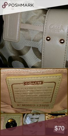 """AUTHENTIC COACH Signature OP Parker Flap Bag Coach OP PARKER FLAP BAG  Authentic Coach  Parker Op Art canvas flap handbag (Style 13408). Features gold-tone hardware,  leather accent and trim,  leather shoulder strap (8"""" drop), a signature Coach hang tag, and a flap top with a magnetic snap closure. Interior of handbag is lined in  textile fabric with a single side zipper pocket, a side patch pocket. Coach Bags"""