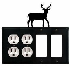 Deer - Double Outlet and Double GFI Cover by Village Wrought Iron. $18.32. Deer - Double Outlet and Double GFI CoverApprox. 8 1/4 In. W x 8 In. H Please allow 4 to 6 weeks for delivery.