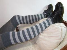 Stripe Thigh High Boot Socks Gray Merino Wool Leg Warmers Grey Striped A965 on Etsy, $34.00