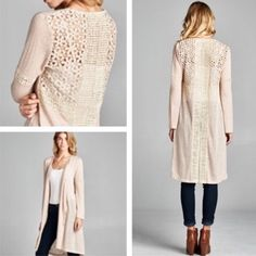 "|HP| 🆕BOHO CREAM CROCHET DETAIL CARDI Polish off your look with this crocheted cardi. 18"" bust. 39"" length. (Large) 100% polyester crochet/lace 100% cotton. -No trades Sweaters Cardigans"