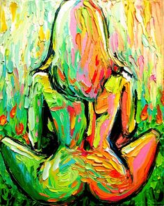Abstract nude figure painting oil on canvas by SagittariusGallery, $165.00