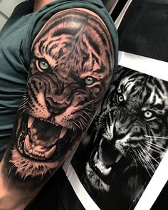 Grab your hot tattoo designs. Get access to thousands of tattoo designs and tattoo photos Arm Tattoos Tiger, Mens Tiger Tattoo, Animal Sleeve Tattoo, Lion Tattoo Sleeves, Tiger Tattoo Design, Cool Arm Tattoos, Leo Tattoos, Badass Tattoos, Animal Tattoos