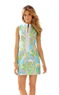 Alexa High Collar Shift Dress - Lilly Pulitzer Shorely Blue Double Trouble