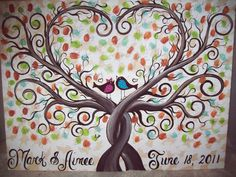 Wedding Guest book thumbprint tree....185-250 guests......22 X 28 hand painted canvas via Etsy
