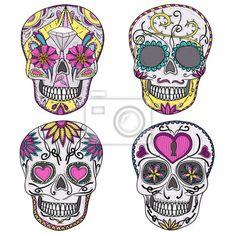 carta-da-parati-teschio-messicano-impostato-teschi-colorati-con-ornamen-fior.jpg (400×400)