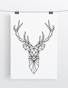 Art Print // Deer // Geometric // Antlers                                                                                                                                                                                 More