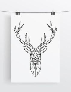 Art Print // Deer // Geometric // Antlers                                                                                                                                                                                 More