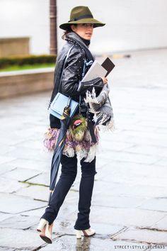 Leandra Medine, #manrepeller, Street:Style:Seconds, biker jacket &fedora hat outfit, Paris Fashion Week AW 2014