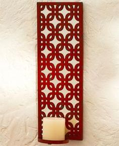 #880337035 Red Lattice Candle Wall Sconce by sensationaltreasures