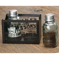 Mason Jar Salt And Pepper Shakers ~ gift idea for country folk who drink out of Mason Jars ~ :)