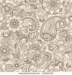 Tatuaje de Henna Mehndi Garabatos de patrones sin fisuras - Flores Paisley Ilustración Elementos de diseño
