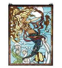 Meyda Tiffany 78086 Mermaid Of The Sea Stained Glass Window