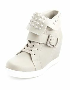 studded fold-over wedge sneaker charolette
