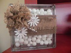 Burlap Flowers and Glass Blocks