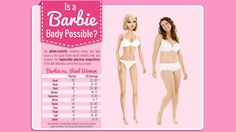 Barbie's mutated proportions are even more unrealistic than we thought  Girls who yearn to have a body like Barbie's need to seriously reconsider. As this new infographic from Rehabs.com shows, not only are her idealized proportions anatomically impossible — they would also be incredibly debilitating.