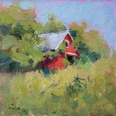 Nancy's Barn, Ridgeview Farm by Debra Joyce Dawson, Oil, 6 x 6 Dandelion Oil, Tower Of Power, Pomegranate Oil, Geranium Oil, Barns, Cottages, Pond, Oil On Canvas, Ohio