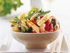 Pasta med heta räkor Wok, Cantaloupe, Potato Salad, Chili, Potatoes, Pasta, Fish, Dinner, Fruit