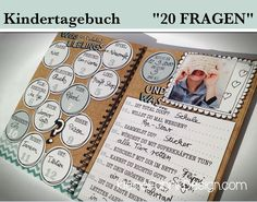Babytagebücher - KINDERTAGEBUCH *20 FRAGEN* zum Geburtstag - ein Designerstück von KleineFabrik bei DaWanda