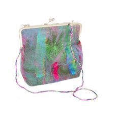 Felt Purse in Green Blue and Pink with Kisslock by Fibernique, $78.00