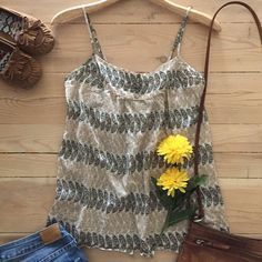 | Banana Republic Top Sweet beige, tan and chocolate brown print cotton tank top with adjustable straps.  Light and airy - perfect for summer.  In great, gently used condition. Banana Republic Tops Tank Tops