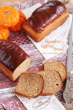 Soft and light, with a buttery crust and a yellowish color, this pumpkin eggnog bread is a wonderful addition to your Thanksgiving meal.